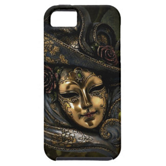 Gold Venetian carnival mask with blue hat iPhone SE/5/5s Case