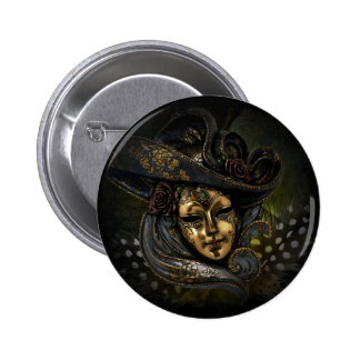 Gold Venetian carnival mask with blue hat Pinback Button