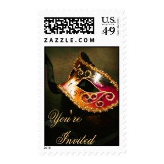 Gold Venetian Masquerade Halloween Postage