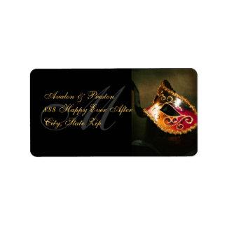 Gold Venetian Masquerade Mask Address Label
