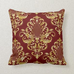 Burgundy Damask Decorative & Throw Pillows | Zazzle