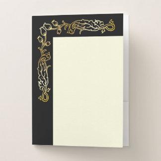 Gold Victorian Floral on Black & Ivory #2 Pocket Folder