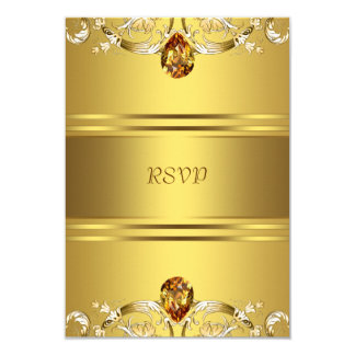 Gold Victorian Flowers Gold 50th Anniversary RSVP Card