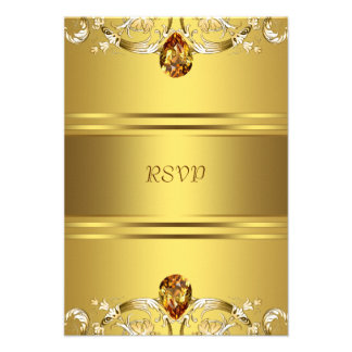 Gold Victorian Flowers Gold 50th Anniversary RSVP Personalized Invitation