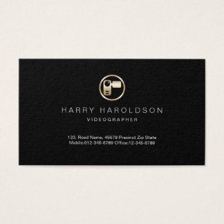 Gold Video Camera Icon Videographer Business Card