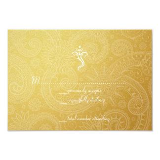 Gold Vinayaka Wedding RSVP Cards