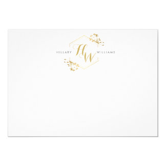 Gold Vine and Leaf Monogram Emblem Flat Notecard