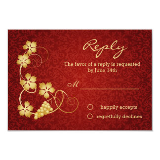 Gold vine leaves on red damask RSVP Invitation