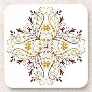 Gold Vines Floral Wreath Coaster