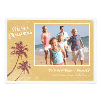Gold Vintage Beach Photo Christmas Cards