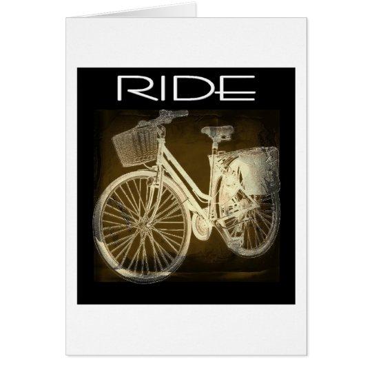 Gold Vintage Bike Ride Card