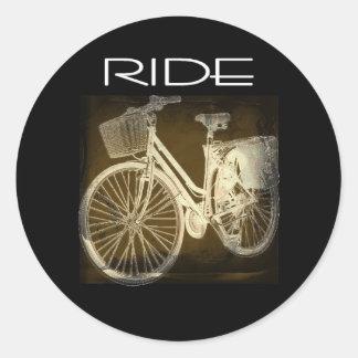Gold Vintage Bike Ride Classic Round Sticker