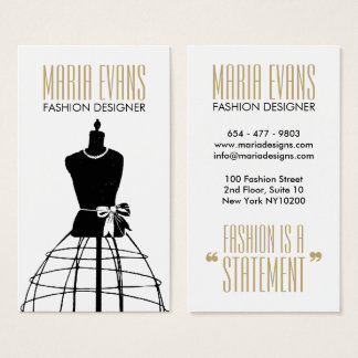 Gold vintage black white mannequin chic fashion business card