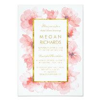 Gold Vintage Blush Floral Watercolor Bridal Shower Card