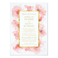 Gold Vintage Blush Floral Wedding Card