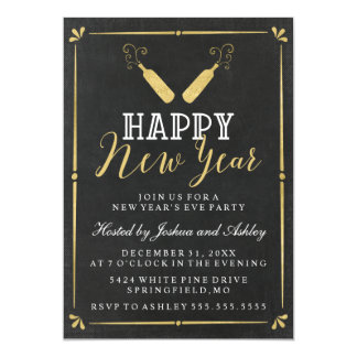 Gold Vintage Chalkboard New Year's Eve Party Card