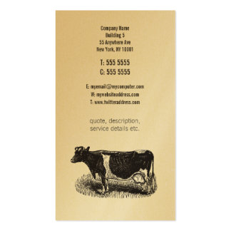 Gold Vintage Dairy Cow Farmer Butcher Business Business Card