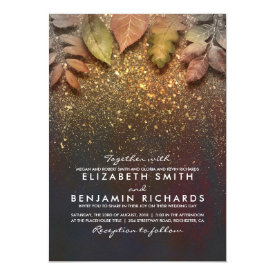 Gold Vintage Fall Leaves Elegant Wedding Card
