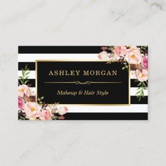 Gold Vintage Floral Black White Stripes Business Card