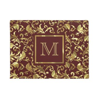 Gold Vintage Floral Damasks Over Brown Background