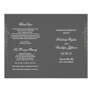 Gold Vintage Floral Grey Wedding Programs