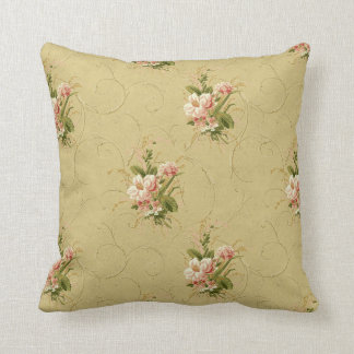 Gold Vintage FLoral Rose Throw Pillow