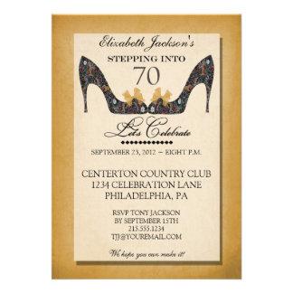 Gold Vintage Floral Shoe 70th Birthday Invitation