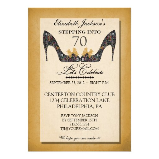 Gold Vintage Floral Shoe 70th Birthday Invitation