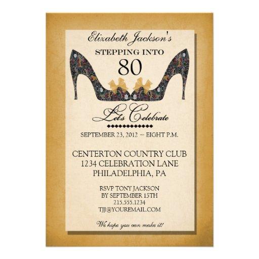 Gold Vintage Floral Shoe 80th Birthday Invitation