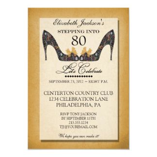 "Gold Vintage Floral Shoe 80th Birthday Invitation 5"" X 7"" Invitation Card"