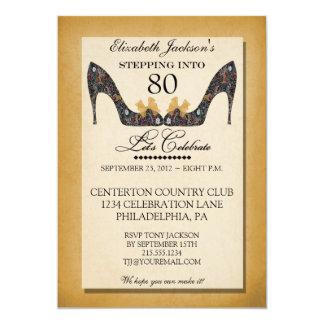"Gold Vintage Floral Shoe 80th Birthday Invitation 5"" X 7"" Invitation Card"