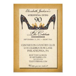 Gold Vintage Floral Shoe 90th Birthday Invitation