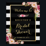 "Gold Vintage Floral Stripes Bridal Shower Sign<br><div class=""desc"">================= ABOUT THIS DESIGN ================= Bridal Shower Sign Vintage Floral Gold Frame with Black White Stripes Poster Template - A Perfect Design for you. (1) The default size is 8 x 10 inches, you can change it to any size. (2) You are able to Change the Black Stripes to ANY...</div>"