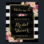 "Gold Vintage Floral Stripes Bridal Shower Sign<br><div class=""desc"">Bridal Shower Sign Vintage Floral Gold Frame with Black White Stripes Poster Template - A Perfect Design for you. (1) The default size is 8 x 10 inches, you can change it to any size. (2) For further customization, please click the &quot;customize further&quot; link and use our design tool to...</div>"