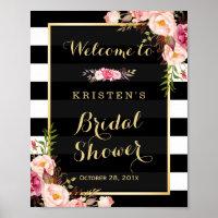 Gold Vintage Floral Stripes Bridal Shower Sign