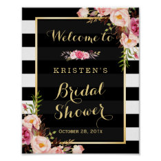 Gold Vintage Floral Stripes Bridal Shower Sign Poster at Zazzle