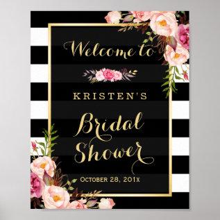 Gold Vintage Floral Stripes Bridal Shower Sign Poster at Zazzle