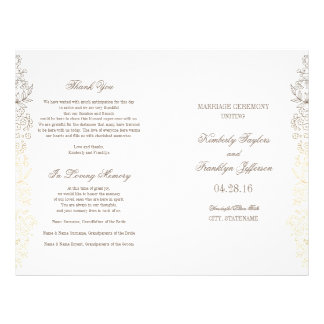 Gold Vintage Floral Wedding Programs