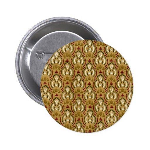 Gold Vintage Geometric Pattern Pinback Buttons