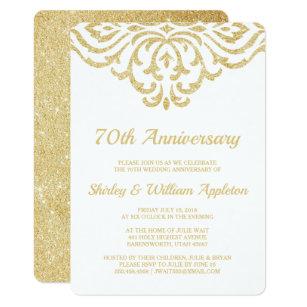 70th Wedding Anniversary.Gold Vintage Glam Elegant 70th Wedding Anniversary Invitation