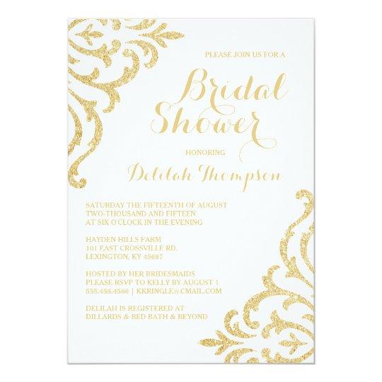 Gold vintage glam elegant bridal shower invitation for Elegant bridal shower invitations