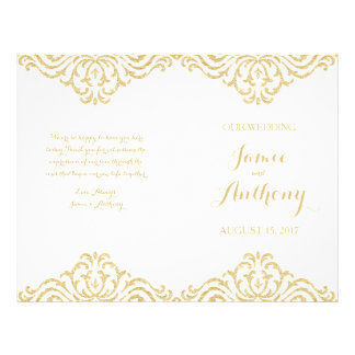 Gold Vintage Glamour Elegance Fold Wedding Program
