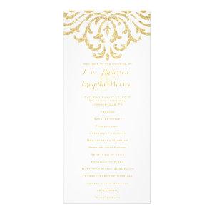 Gold Vintage Glamour Elegance Wedding Program Custom Rack Cards