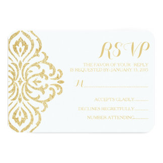 Gold Vintage Glamour Elegance Wedding RSVP Card