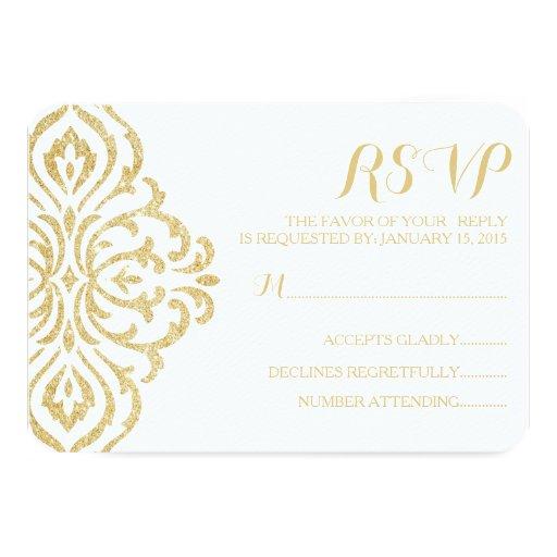 Gold Vintage Glamour Elegance Wedding RSVP Card