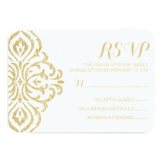 """Gold Vintage Glamour Elegance Wedding RSVP Card 3.5"""" X 5"""" Invitation Card"""