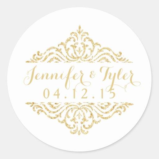 gold vintage glamour elegance wedding stickers zazzle