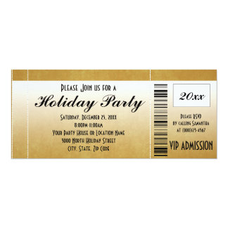 Gold Vintage Holiday Party Ticket Invitation