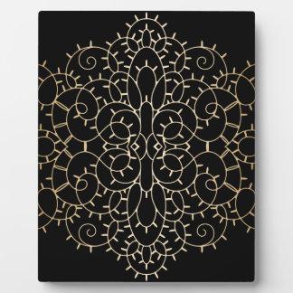 Gold vintage lace scroll design on black plaques