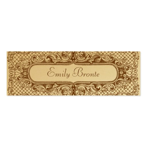 Gold vintage look skinny card double sided mini business for Ka che vintage look